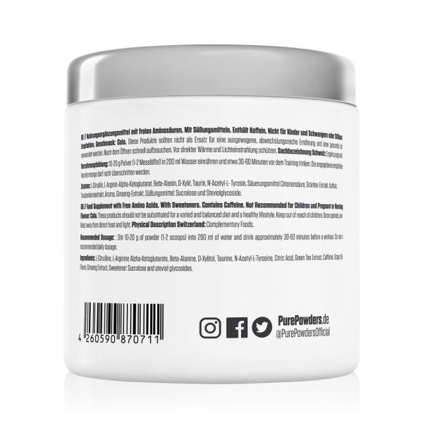Pure Powders® PRE-WO F10 300g Cola Flavour